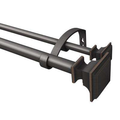 72 in. L - 144 in. L Telescoping Double Curtain Rod Kit in Oil Rubbed Bronze with Square Finial