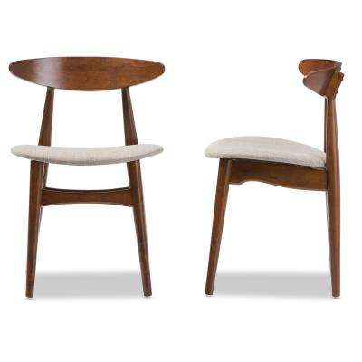 Flora Gray Fabric and Medium Brown Wood Dining Chairs (Set of 2)