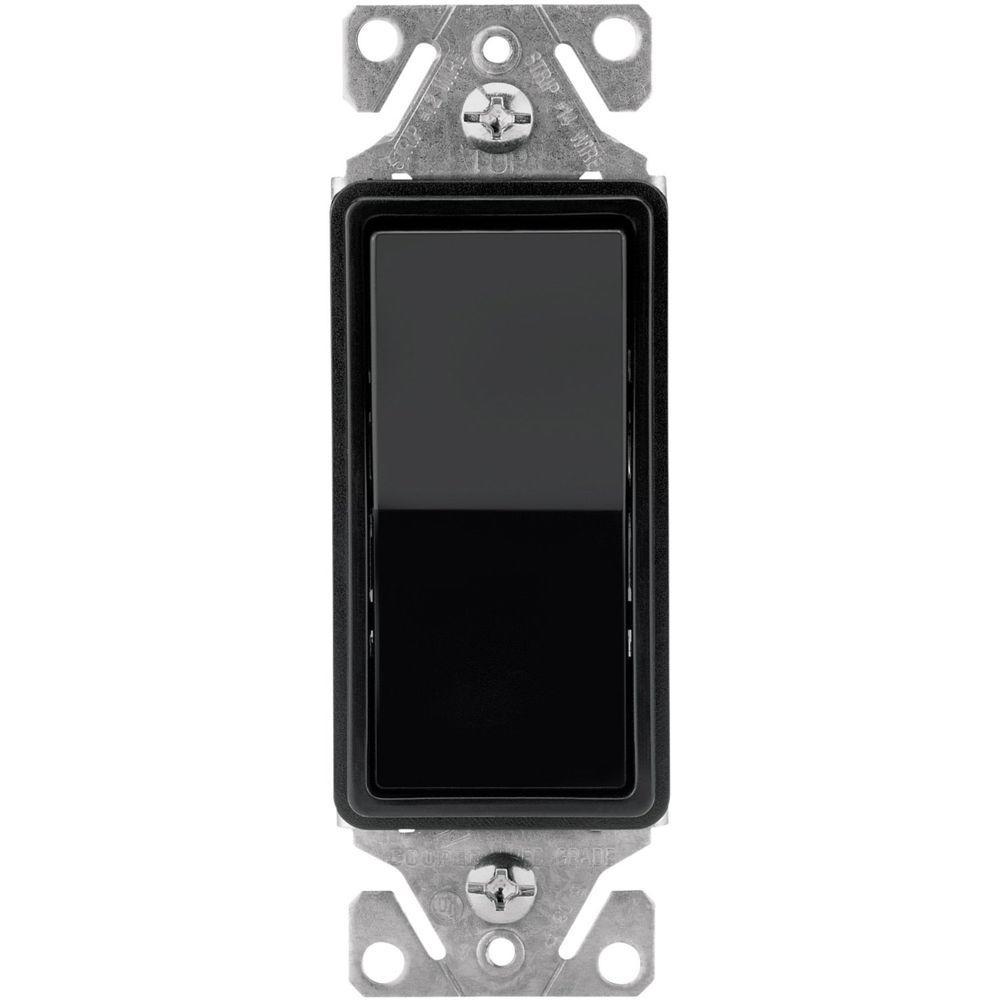 Eaton 15 Amp Singe Pole Decorator Light Switch - Black