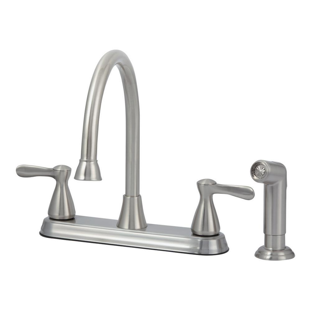 Tuscany 2-Handle Standard Kitchen Faucet with Matching Side Spray in Brushed Nickel