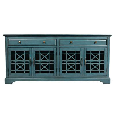 Craftsmen Series 70 in. W Antique Blue Wooden Media Unit Fits 70 in. TV with Fretwork Glass Front