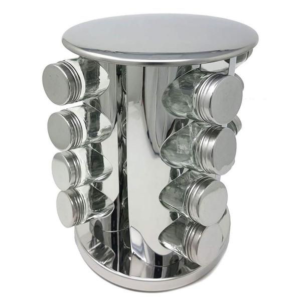 LavoHome - Stainless Steel Spice & Herb Rack Modern Luxury Design Space-Saving Carousel Organizer with 16-Glass Bottles