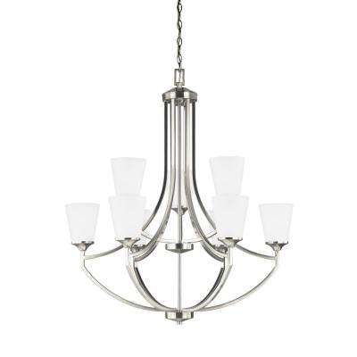 Hanford 9-Light Brushed Nickel Chandelier with LED Bulbs