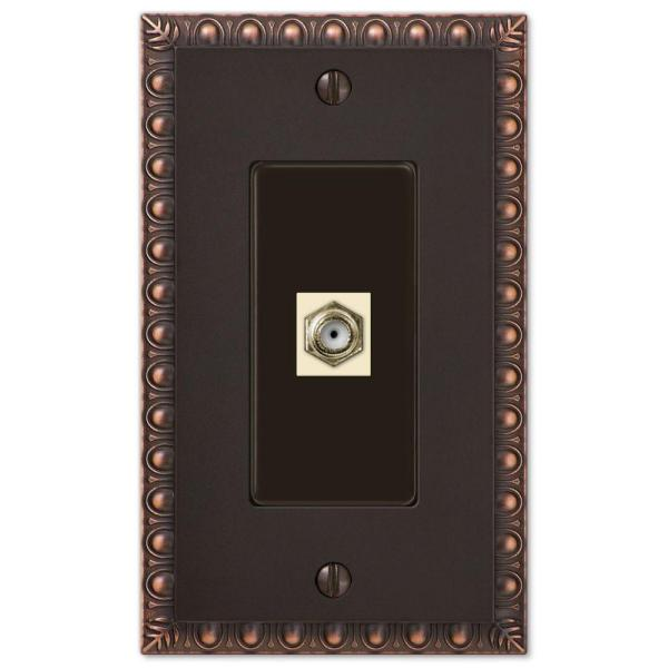 Antiquity 1 Gang Coax Metal Wall Plate - Aged Bronze