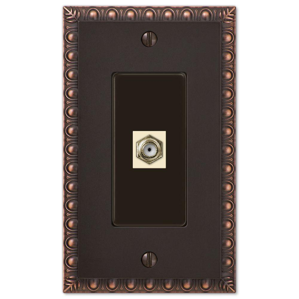 Egg and Dart 1 Coax Wall Plate - Aged Bronze