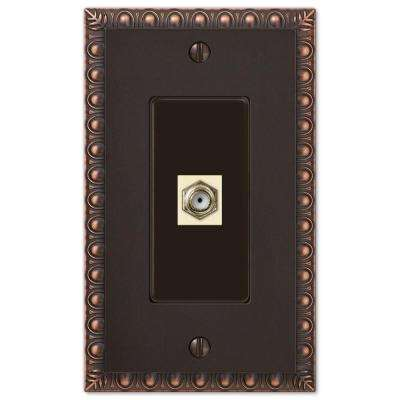 Egg and Dart 1 Coax Wall Plate - Oil-Rubbed Bronze