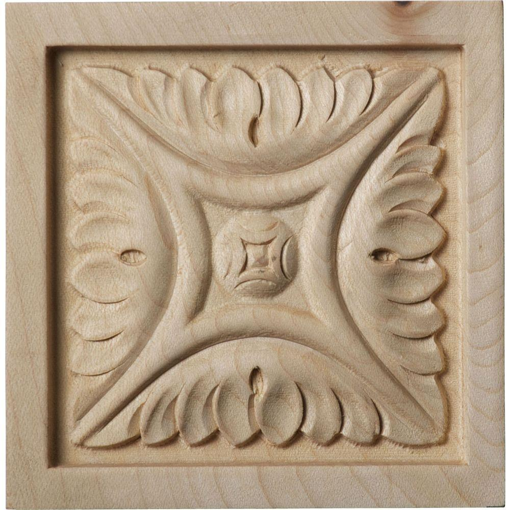 Ekena Millwork 3/4 in. x 3-1/2 in. x 3-1/2 in. Unfinished Wood Cherry Medium Middlesbrough Rosette