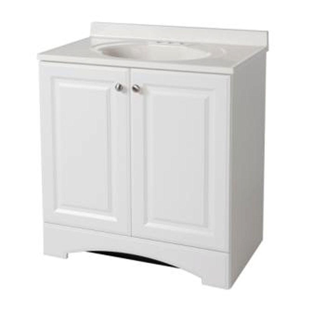 Glacier Bay 30 1 2 In W Bath Vanity In White With Vanity