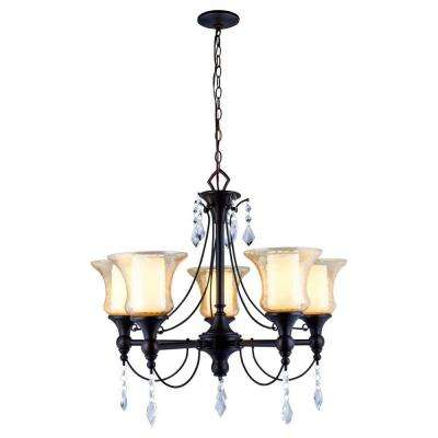 Ethelyn Collection 5-Light Oil-Rubbed Bronze Chandelier with Elegant Old World Glass Shades