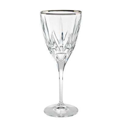 Chic White Wine Goblets with Platinum Trim By Lorren Home Trends ( Set of 6)