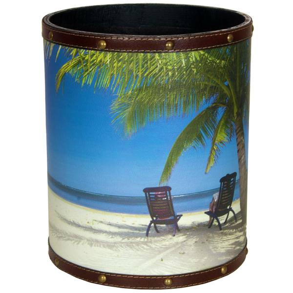 Oriental Furniture Oriental Furniture 8.25 in. x 10 in. Caribbean Beach Waste Basket