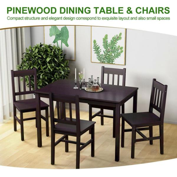 Brown Wood Dining Table Set 4 Chairs