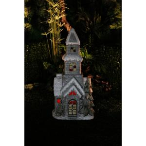 Alpine White Christmas Church Decor with LED Light by Alpine