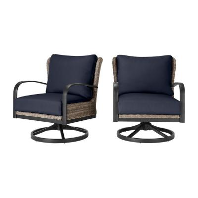 Hazelhurst Brown Wicker Outdoor Patio Swivel Lounge Chair with CushionGuard Midnight Navy Blue Cushions (2-Pack)