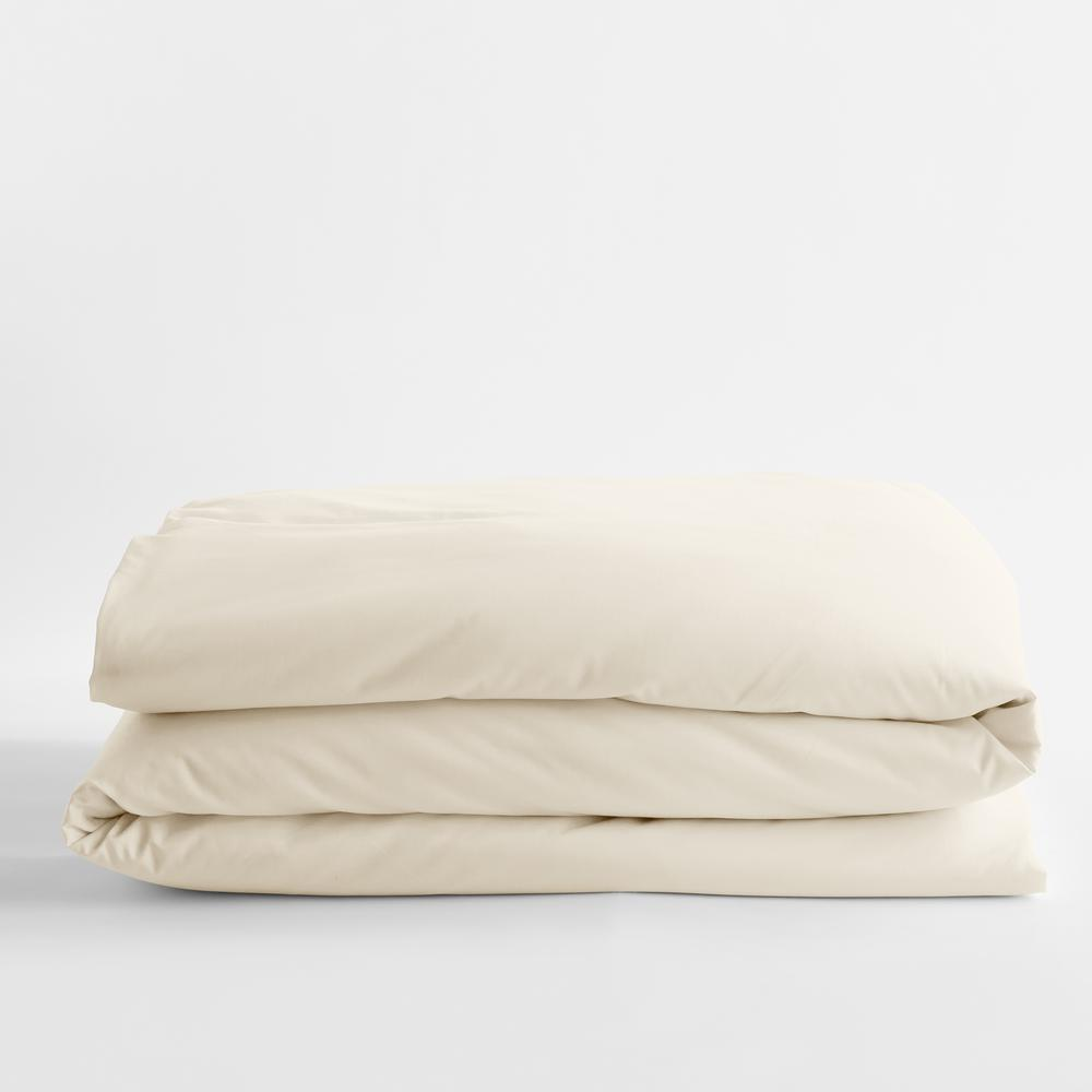 Ivory Solid Bamboo Cotton Sateen Twin Duvet Cover