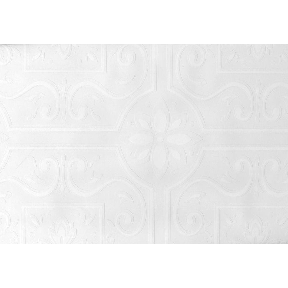 Brewster Paintable Emser Scrolling Floral Tile Wallpaper Sample 497-59000SAM