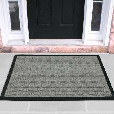 Silver 18 in. x 30 in. Loop Carpet Natural Rubber Door Mat