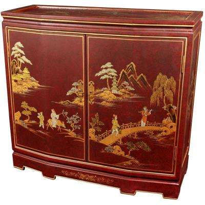 Oriental Furniture Red Lacquer Japanese Slant Front Cabinet