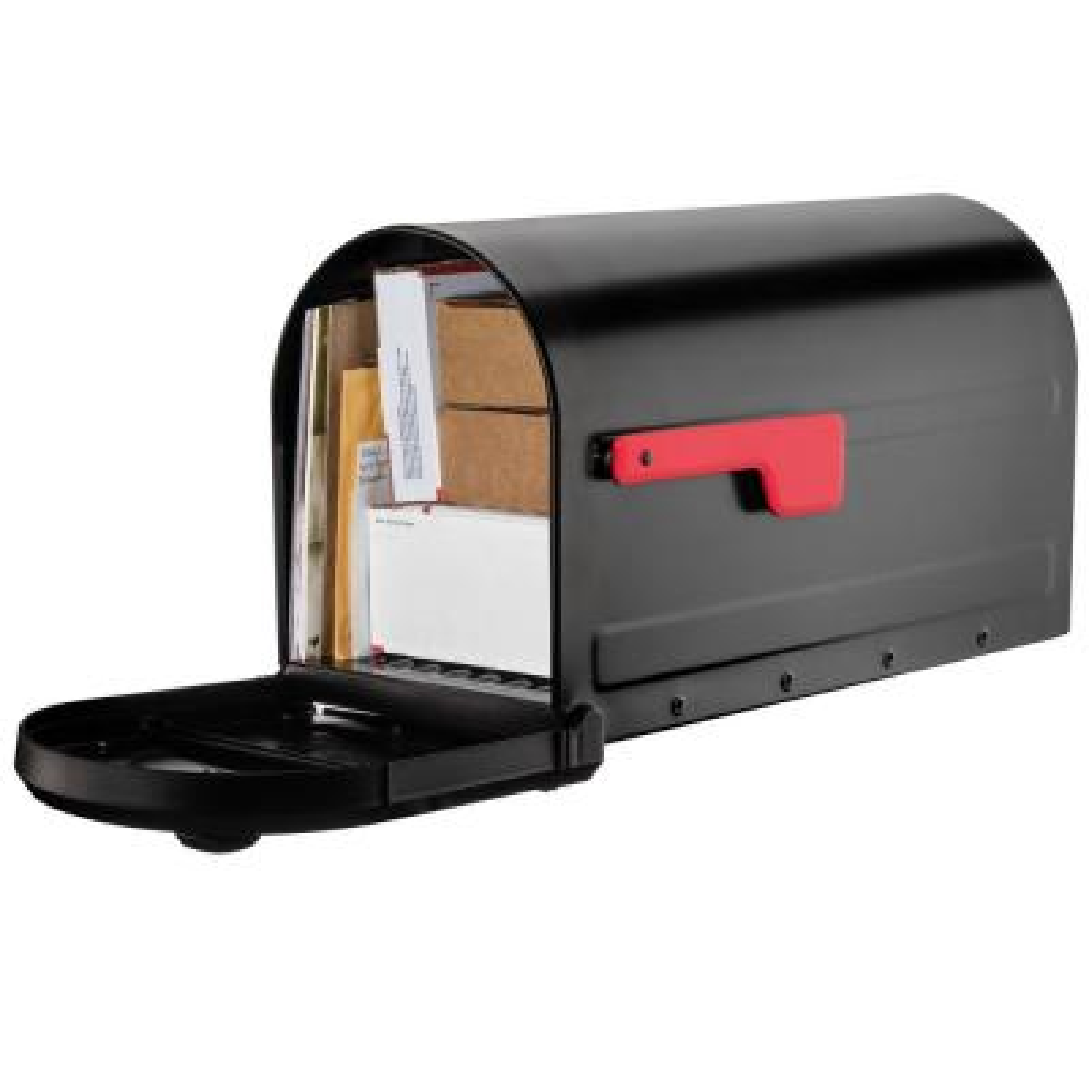 Roxbury Black Steel Post Mount Mailbox and Premium Steel Post Combo