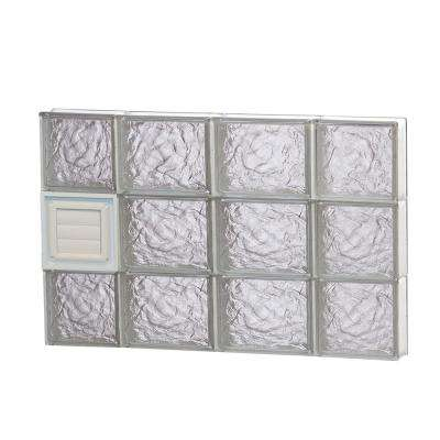 27 in. x 17.25 in. x 3.125 in. Ice Pattern Glass Block Window with Dryer Vent