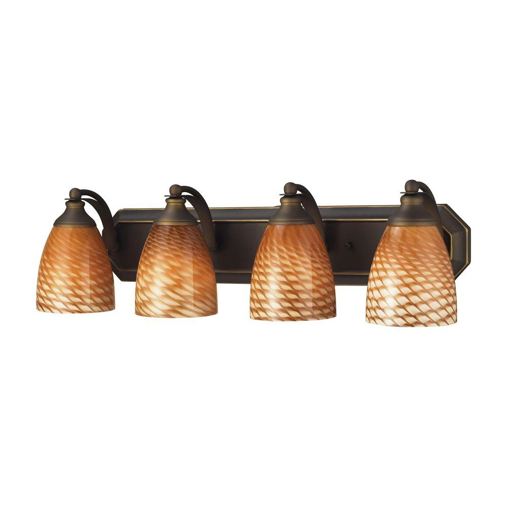 4-Light Aged Bronze Vanity Light with Coco Glass