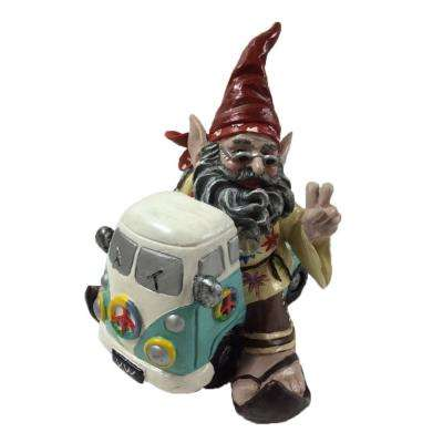 11 in. H  60's Jerry Peace Man Hippie Gnome  Riding in His VW Bus Home and Garden Gnome Statue