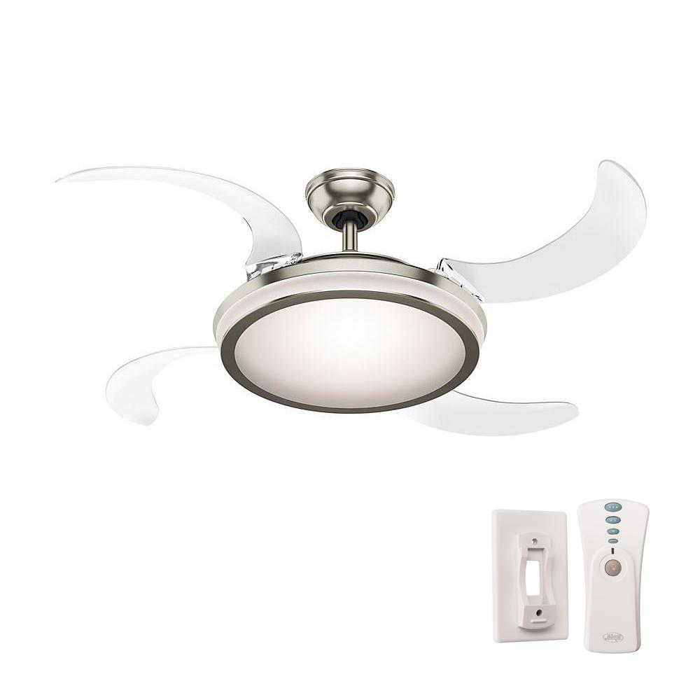 Indoor Brushed Chrome Ceiling Fan With Light Remote Control