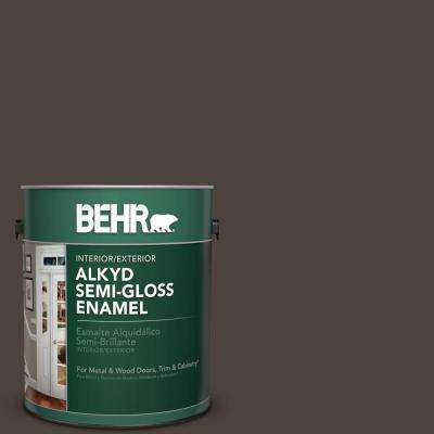 1 gal. #MS-90 Deep Chocolate Semi-Gloss Enamel Alkyd Interior/Exterior Paint