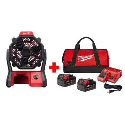M18 18-Volt Lithium-Ion Cordless Jobsite Fan with Two 4.0 Ah Batteries, Charger and Contractor Bag