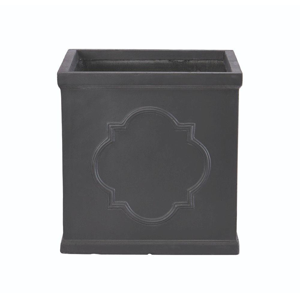 Quarterfoil 24 in. H x 17 in. W Rectangular Resin Planter