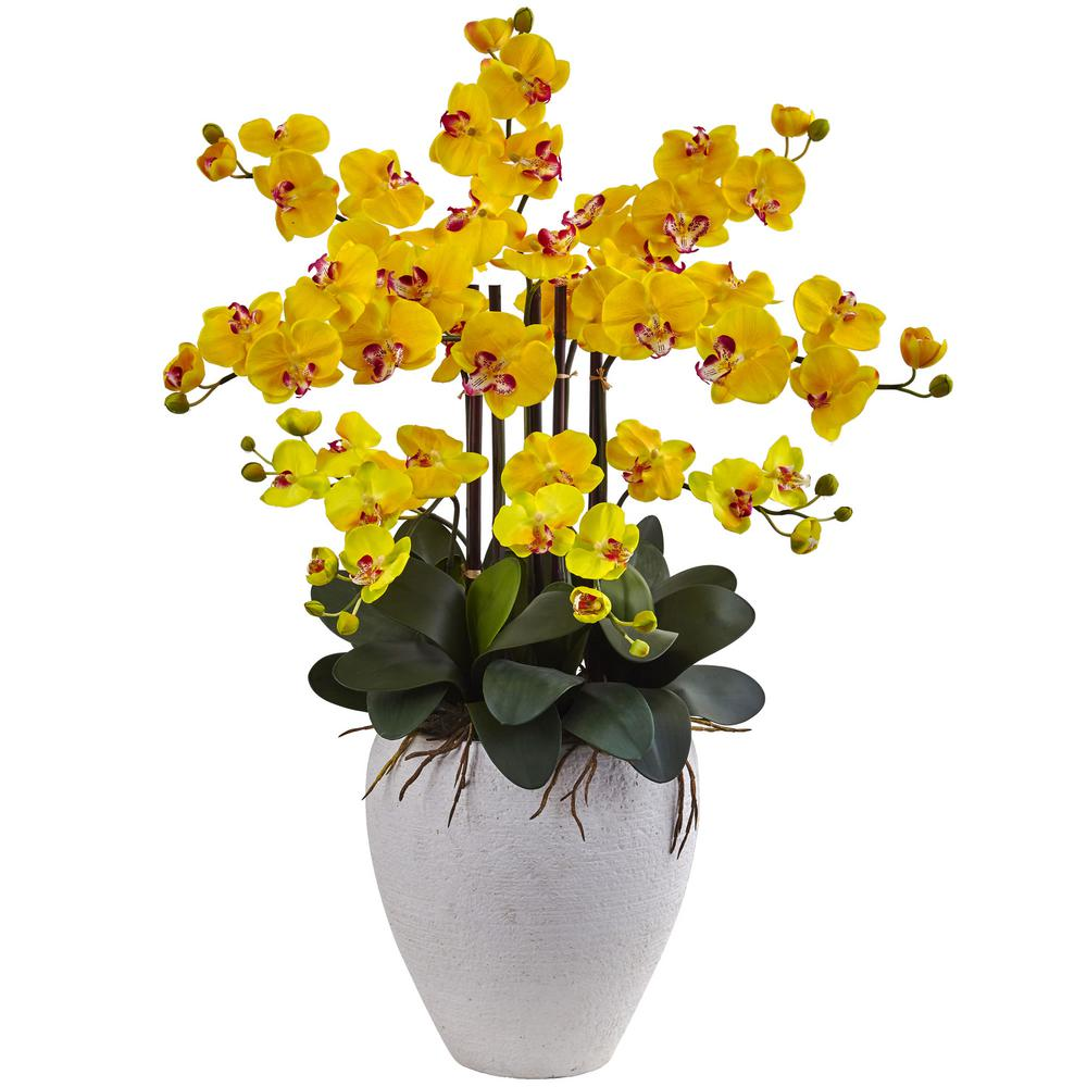 Nearly Natural Phalaenopsis Orchid with White Planter-1420-YL - The on bright home ideas, bright business ideas, rv parking ideas, bright colorful kitchen cabinets, bright painting ideas, bright kitchen colors, bright hallway ideas, bright light in face, vaulted ceilings ideas, bright porch ideas, bright kitchen schemes, bright painted kitchen cabinets, bright blue kitchen, bright sunroom ideas, bright kitchen backsplash, bright red backsplash, bright traditional kitchen, bright kitchen art, bright kitchen themes, bright garden ideas,