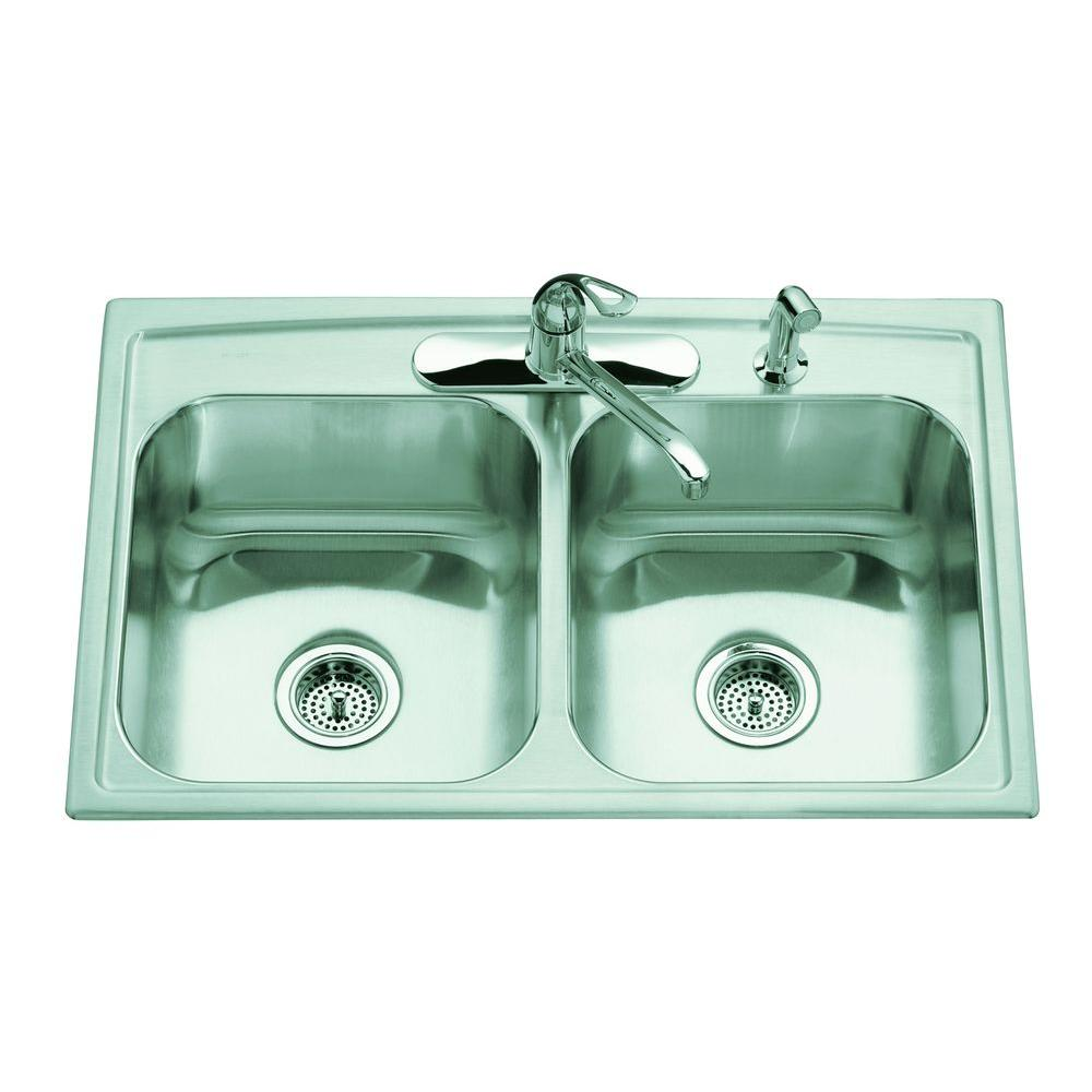 KOHLER All-in-One Toccata Drop-In Stainless Steel 33 in. 3-Hole Double Basin Kitchen Sink