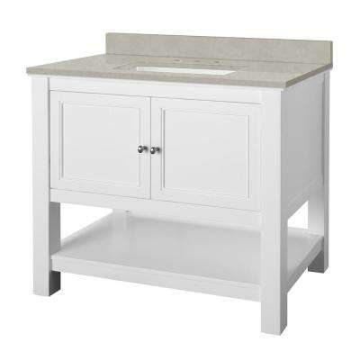 Gazette 37 in. W x 22 in. D Vanity Cabinet in White with Engineered Marble Vanity Top in Dunescape with White Sink