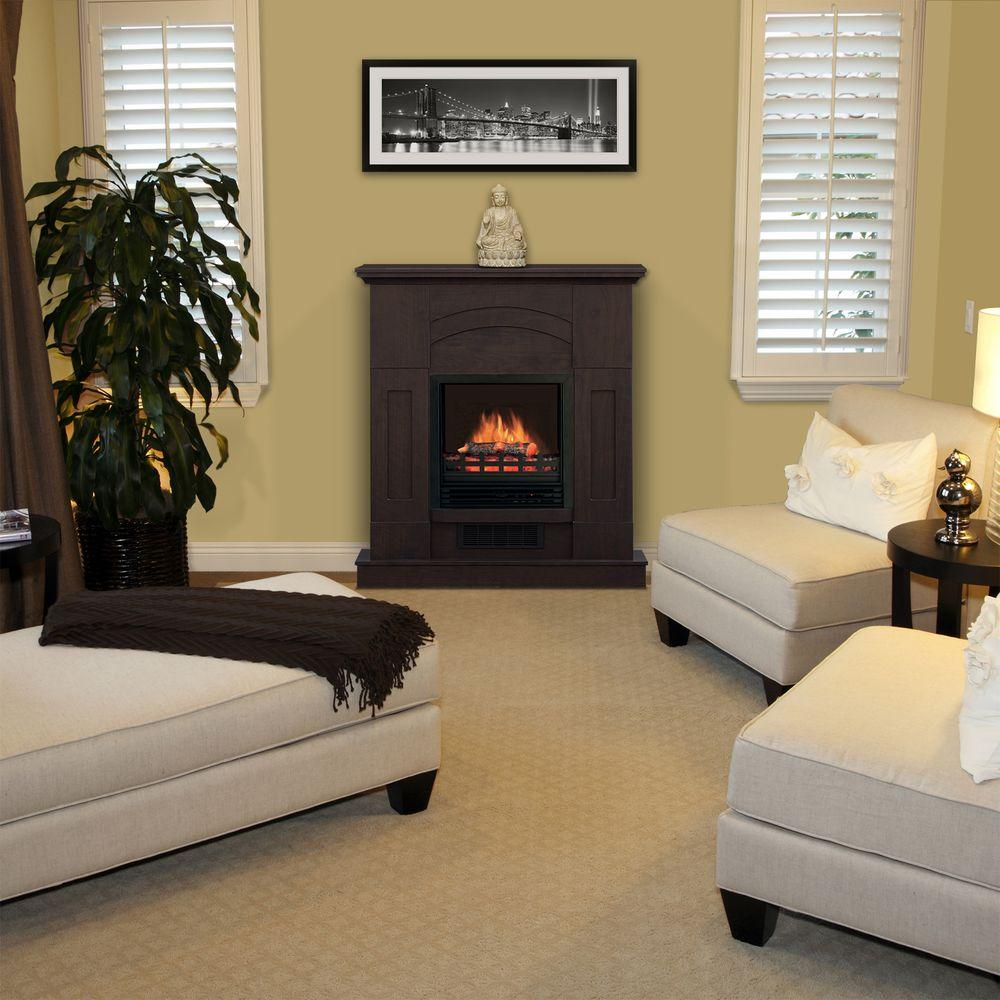 Quality Craft 36 in. Electric Fireplace in Dark Walnut