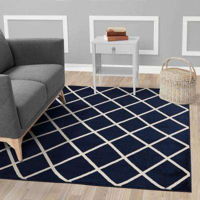 Jasmin Collection Navy and Ivory 2 ft. 7 in. x 9 ft. 10 in. Moroccan Trellis Runner Rug