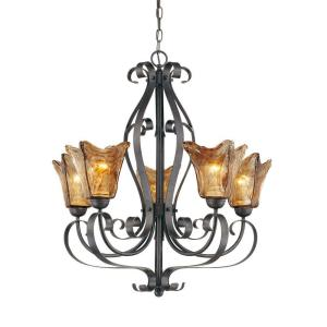 5-Light Burnished Gold Chandelier with Umber Swirl Glass