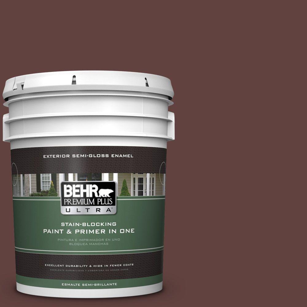 5-gal. #PMD-62 Black Plum Semi-Gloss Enamel Exterior Paint