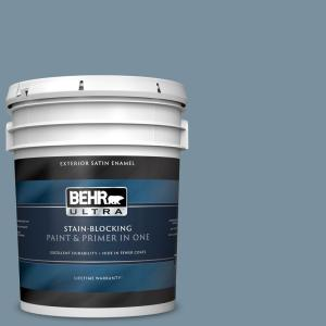 Behr Ultra 5 Gal Pmd 55 Silent Tide Satin Enamel Exterior Paint And Primer In One 985405 The Home Depot