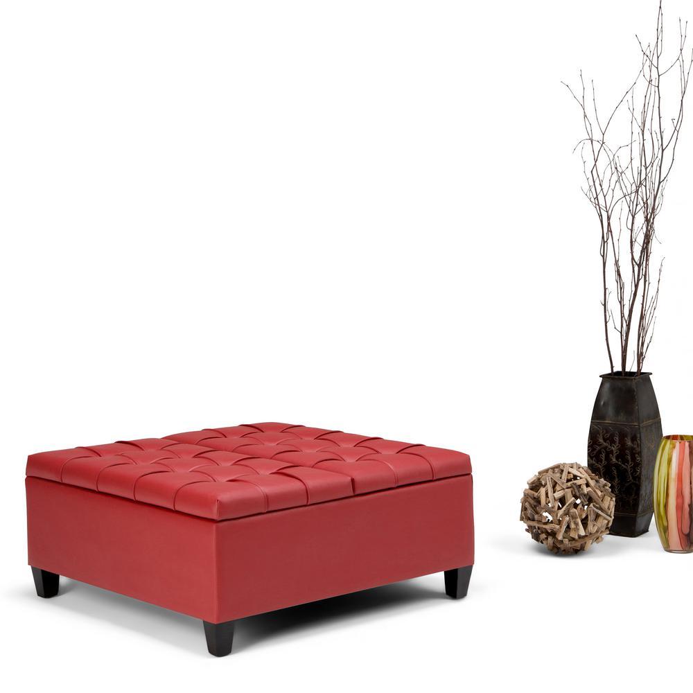 Harrison Crimson Red PU Faux Leather Storage Ottoman