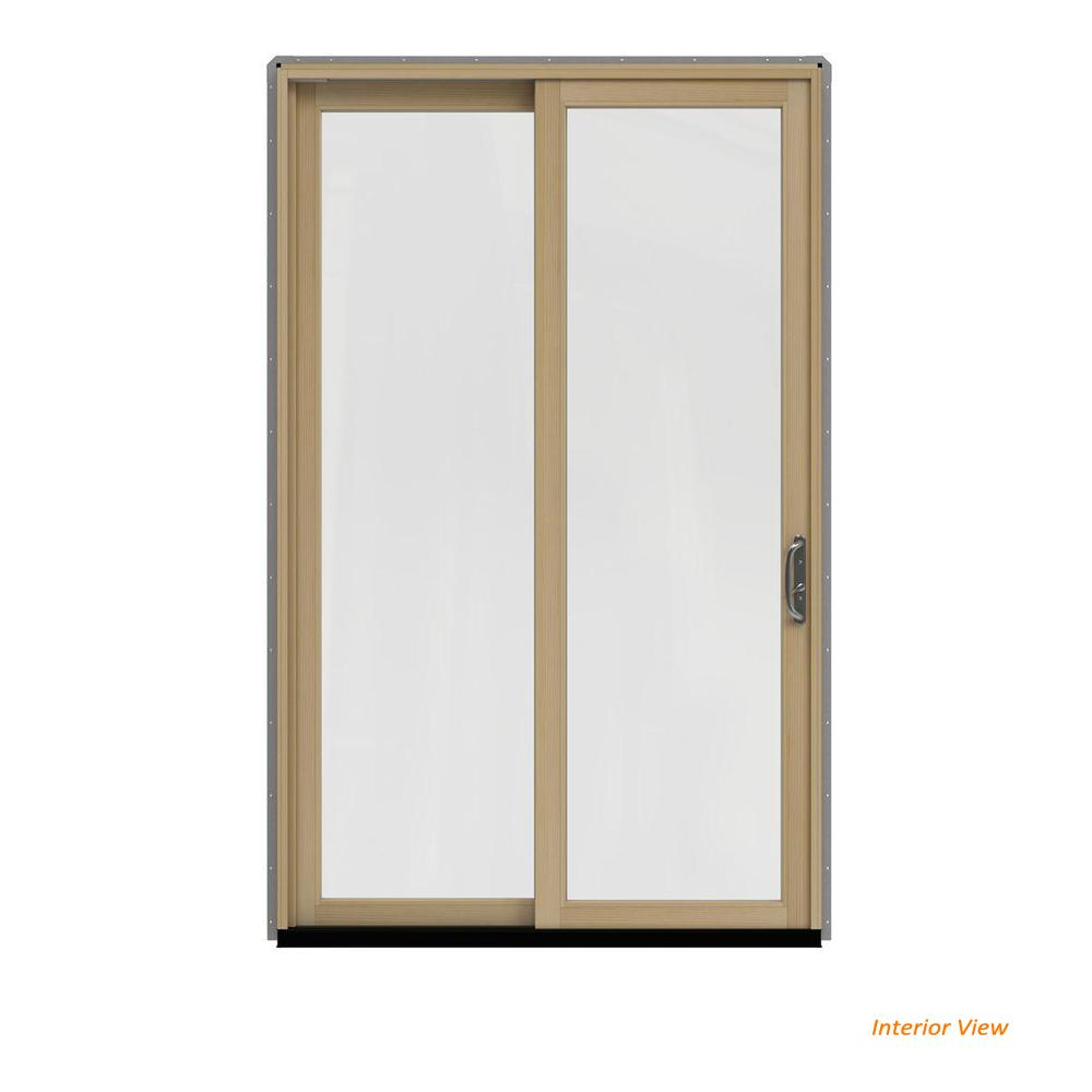 JELD-WEN 60 in. x 96 in. W-2500 Contemporary Silver Clad Wood Right-Hand Full Lite Sliding Patio Door w/Unfinished Interior