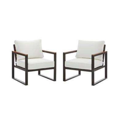 West Park Aluminum Outdoor Lounge Chair with CushionGuard White Cushions (2-Pack)