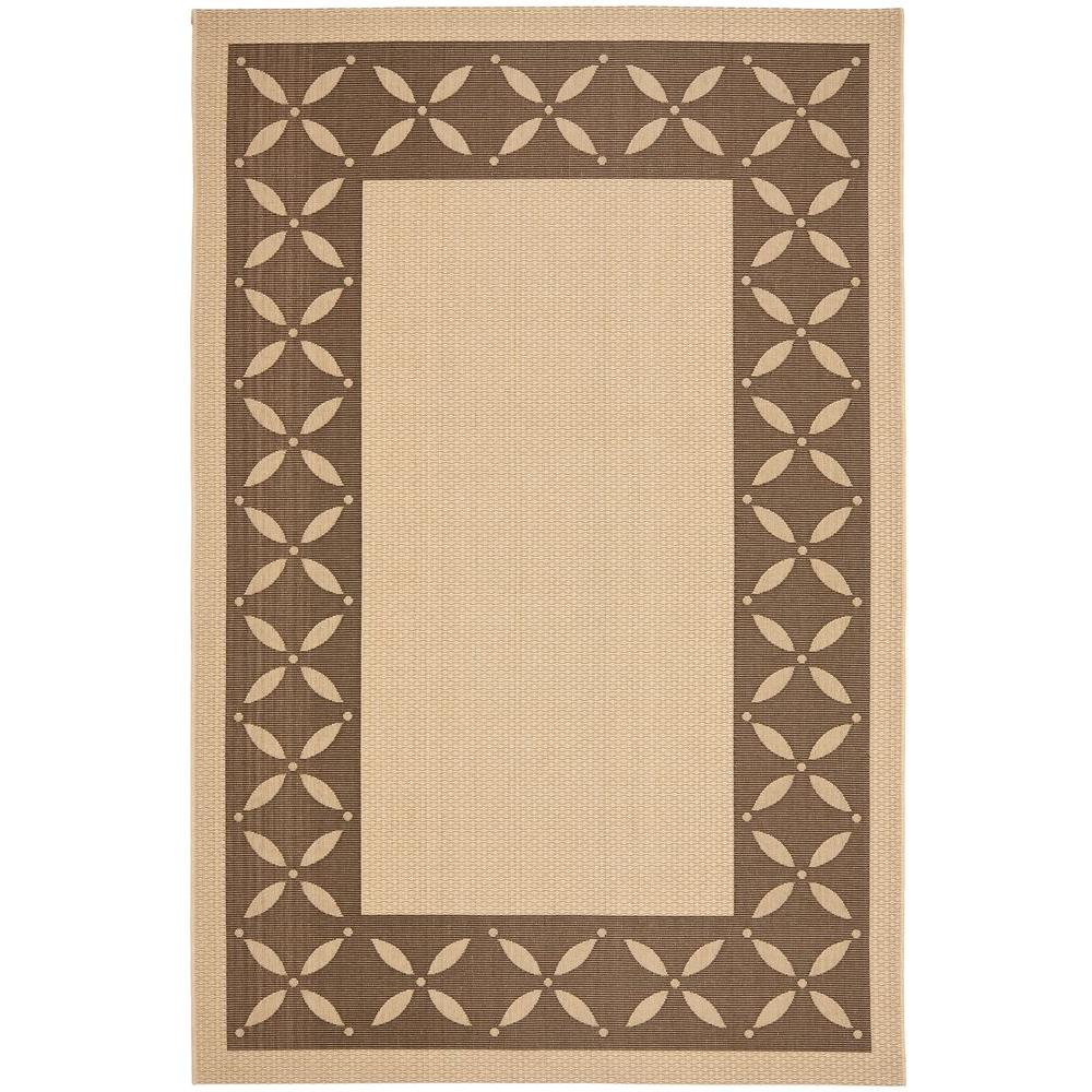 Martha Stewart Living Mallorca Border Cream/Chocolate 6 ft. 7 in. x 9 ft. 6 in. Area Rug