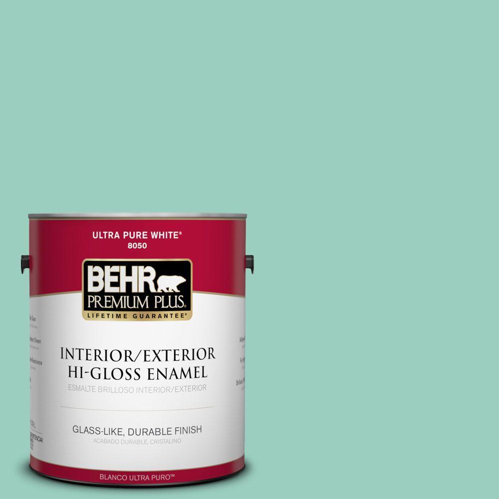 BEHR Premium Plus 1-gal. #hdc-SM14-6 Thermal Aqua Hi-Gloss Enamel Interior/Exterior Paint