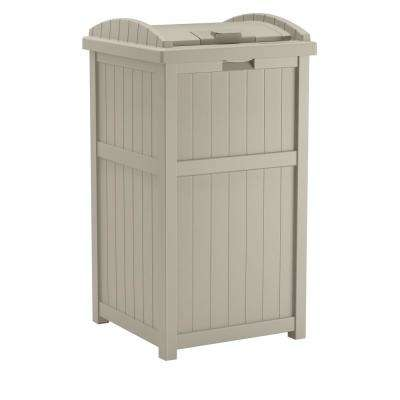 33 Gal. Resin Taupe Outdoor Trash Can