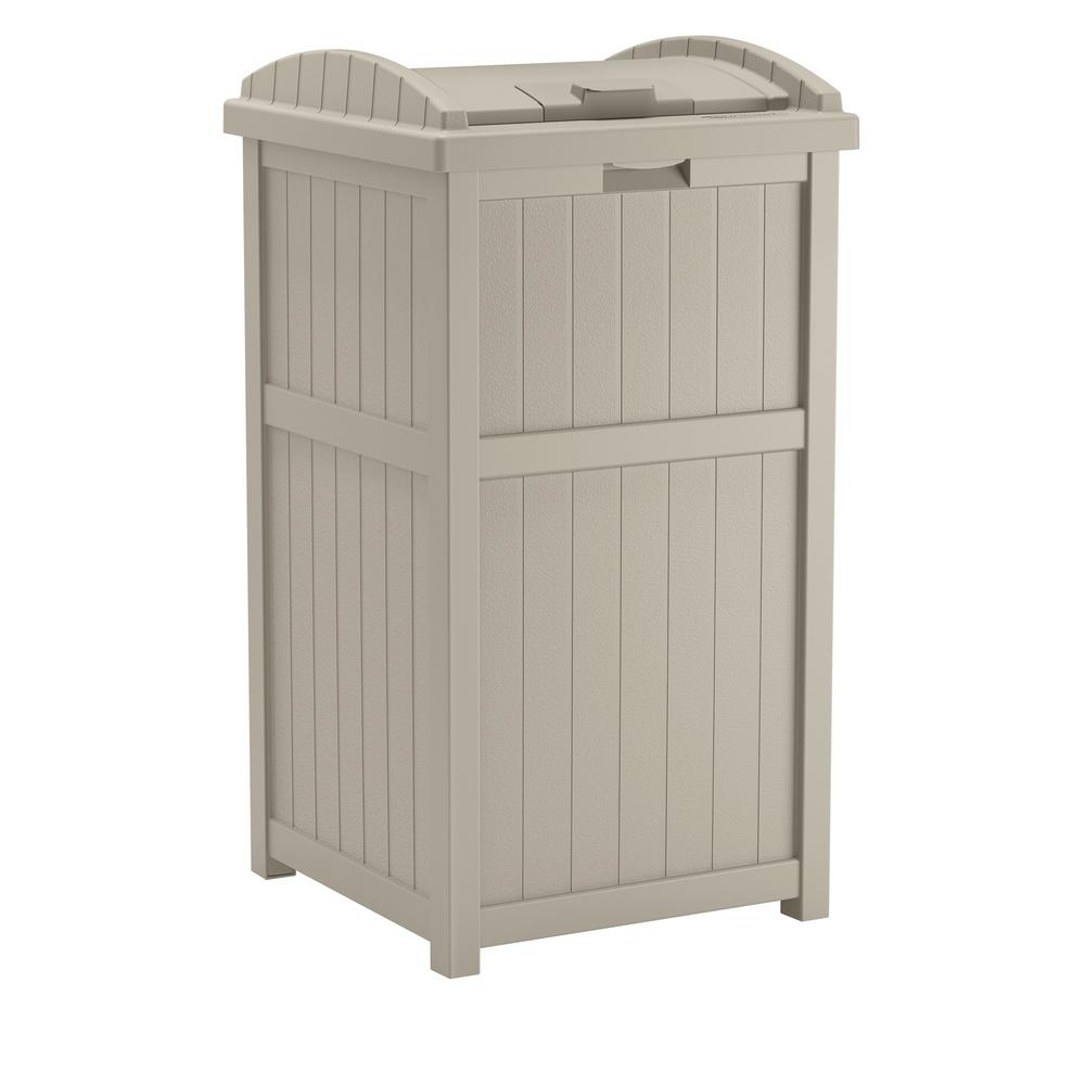 Outdoor Trash Can Holder Hideaway Plastic Backyard Deck Patio Garden 33 Gallon 695641178784 Ebay