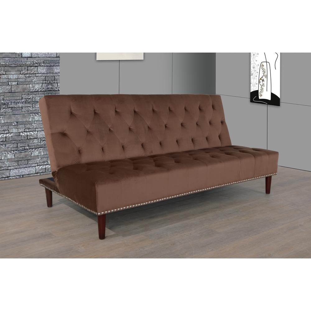 Chocolate Brown Tufted Convertible Sofa Bed Futon