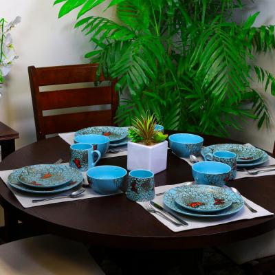 Butterfly Garden 16-Piece Blue Dinnerware Set
