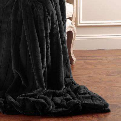 60 in. L Luxe Faux Mink Fur Black Throw