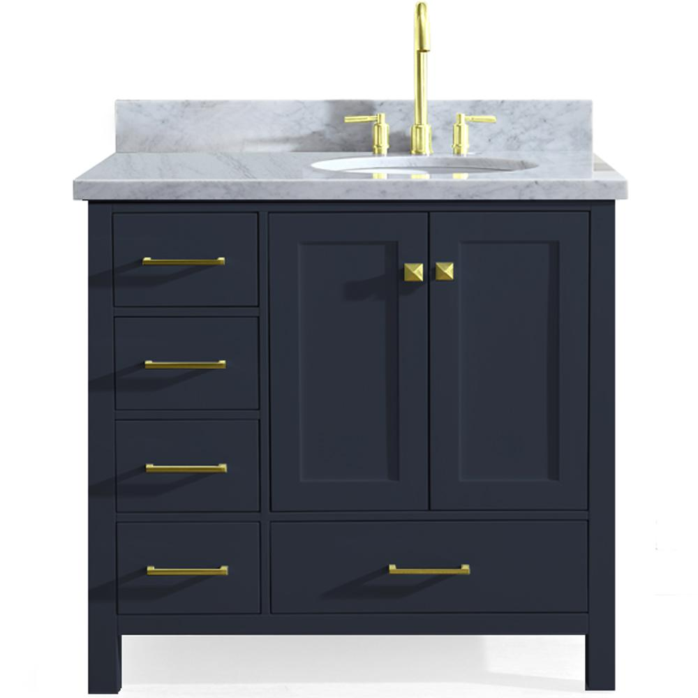 Ariel Cambridge 37 in. W x 22 in. D Vanity in Midnight Blue with Marble Vanity Top in Carrara White with White Basin