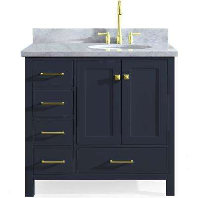 Cambridge 37 in. W x 22 in. D Vanity in Midnight Blue with Marble Vanity Top in Carrara White with White Basin